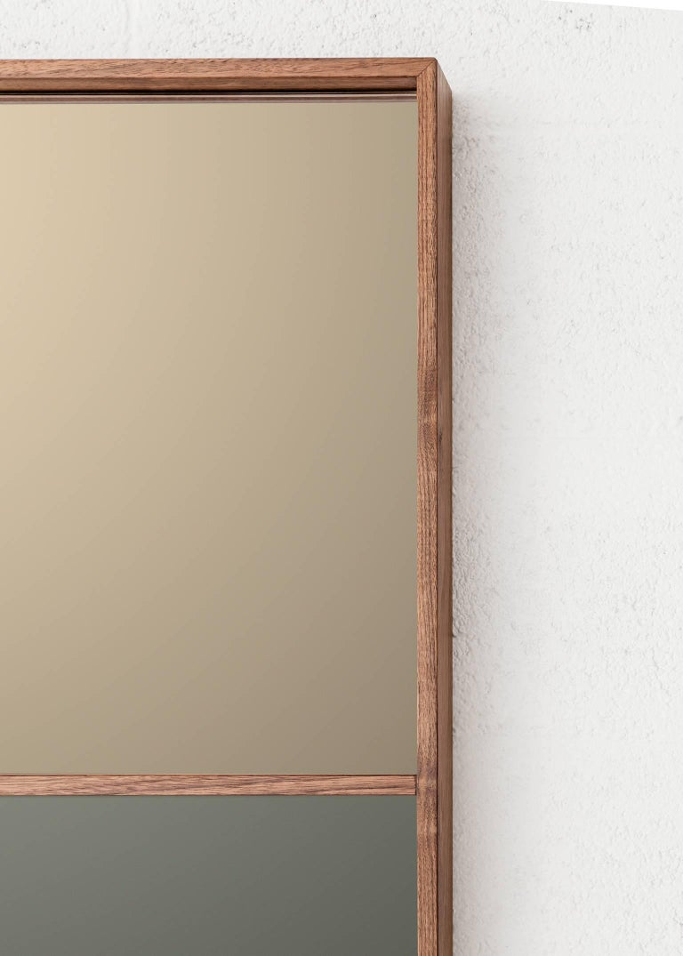 Bronzed 'Horizon' Contemporary Walnut with Bronze and Grey Mirror by Carbonell Design For Sale