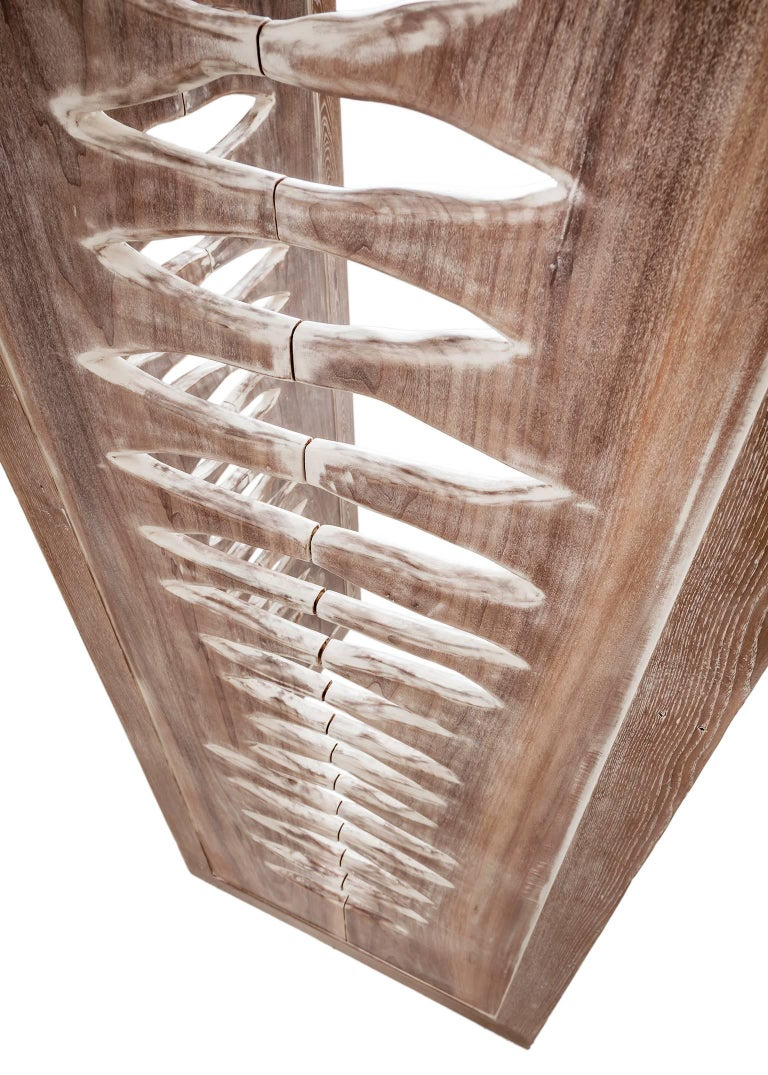 Hand-Crafted 'Navajo' Sculptural Screen Space Divider in Solid Wood by Vivian Carbonell For Sale