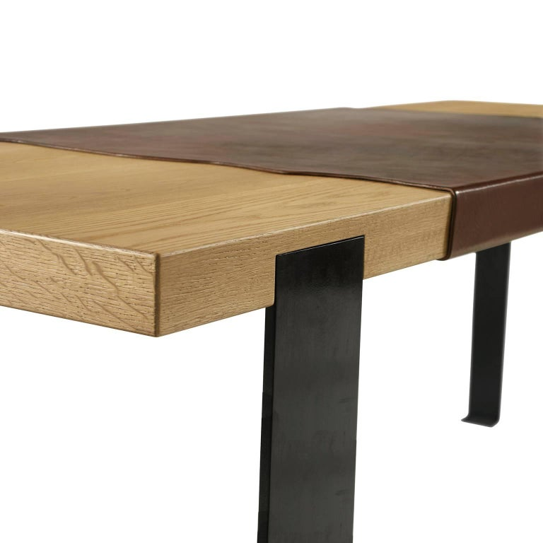 American Contemporary desk table in oak, blackened steel legs and leather detail top For Sale