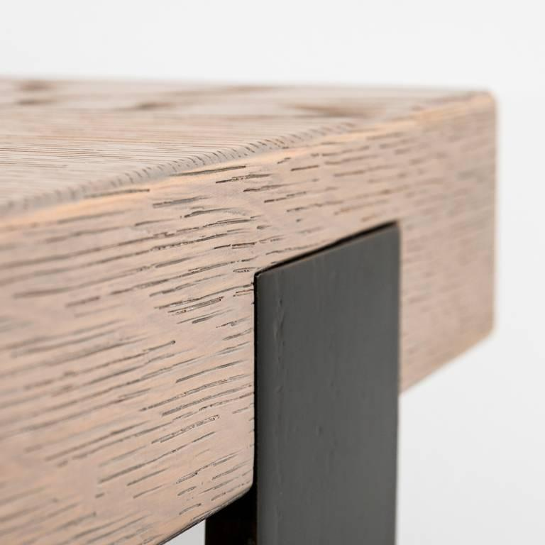 Blackened Contemporary desk table in oak, blackened steel legs and leather detail top For Sale