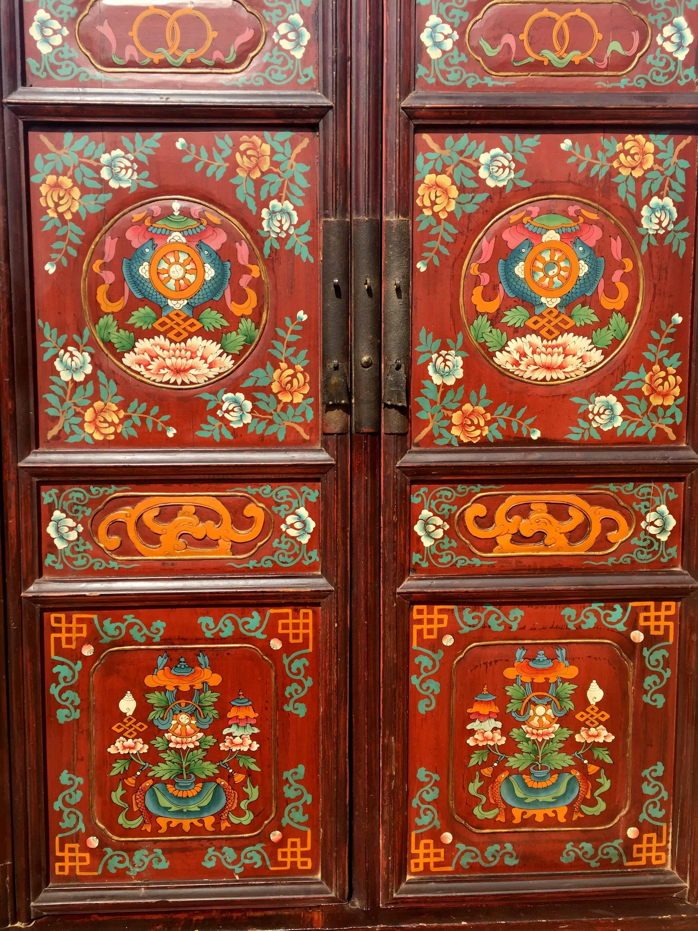 19th Century Large Antique Tibetan Cabinet For Sale