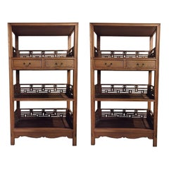 Pair of Asian Bookcase with Lattice Work