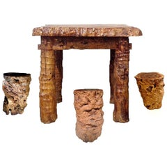 Rustic Log Country Table with Stools, Burl Jujube Solid Wood Table Set of Four