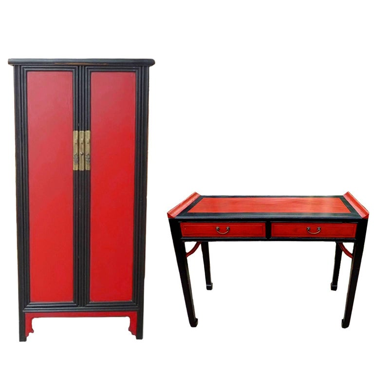 Asian Red and Black Cabinet and Desk Suite of Two
