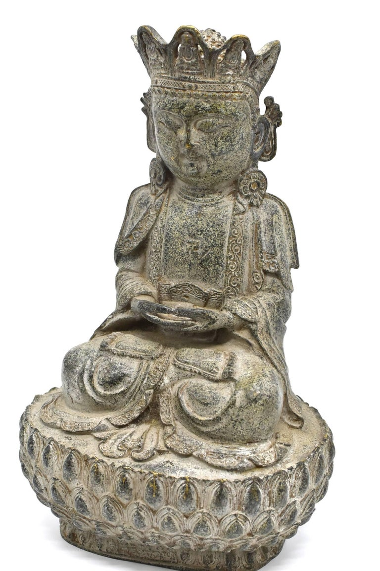 Ming Bronze Earth Buddha on Lotus Seat For Sale
