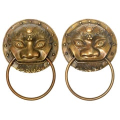 Pair of Brass Door Knockers, Prehistoric Beast, Small