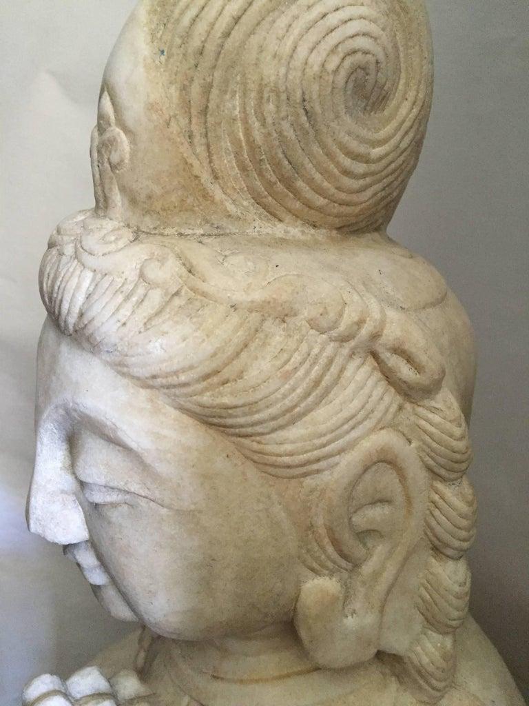 White Marble Kwan Yin Stone Statue Asian Garden Statue