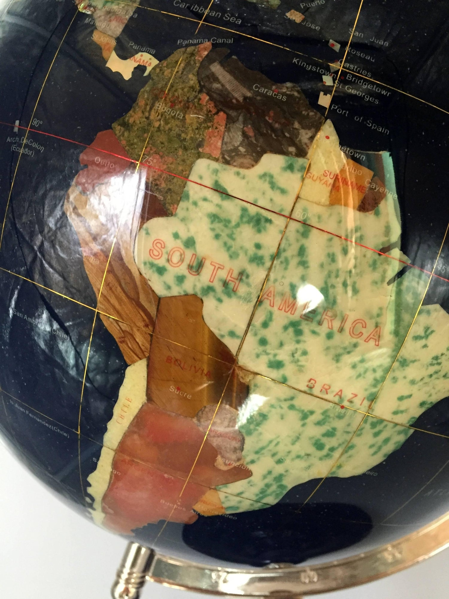 Lapis mother of pearl gemstone globe at 1stdibs gumiabroncs Image collections
