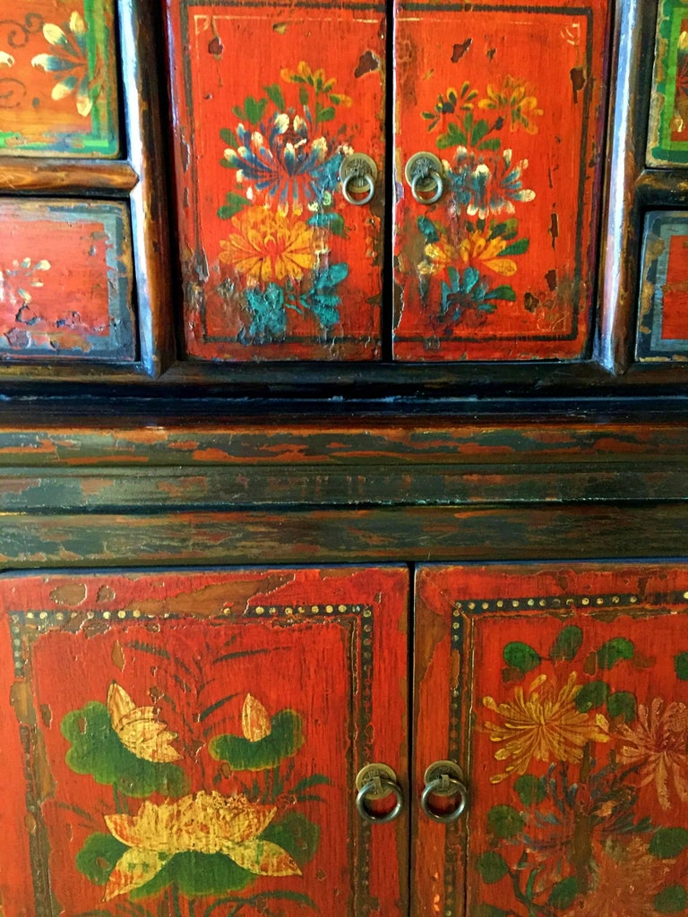 Antique Tibetan Cupboard Hand Painted Chest Large 19th