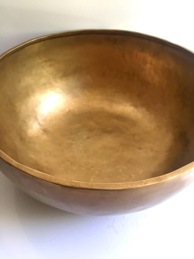 Brass Singing Bowl, Nepalese Handmade Singing Bowl with Mahogany and Leather Striker For Sale