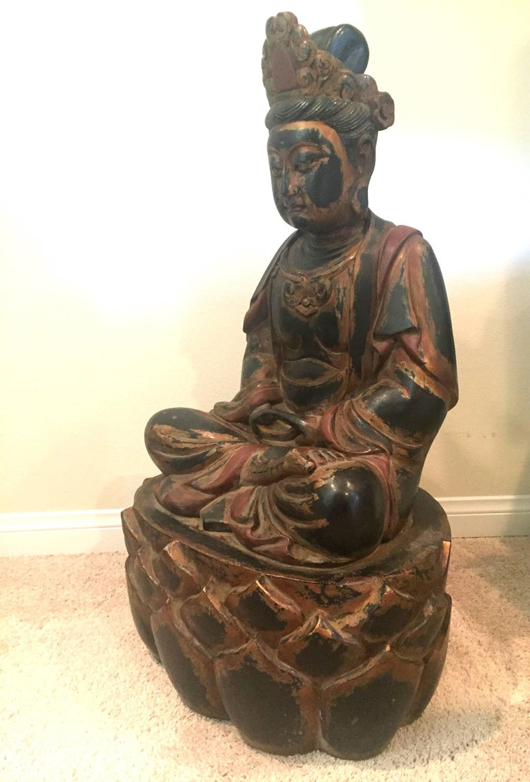 Cypriot Huge Solid Wood Buddha Statue, Hand-Carved For Sale