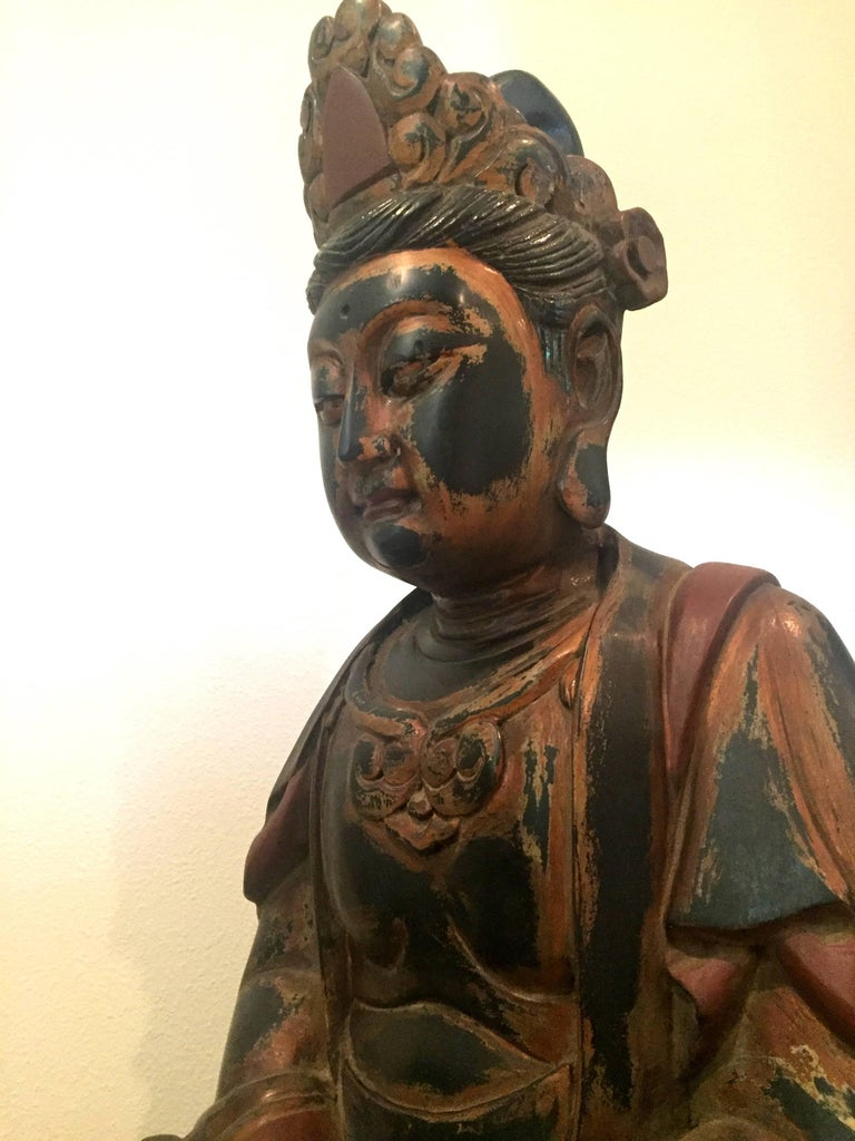 Huge Solid Wood Buddha Statue, Hand-Carved In Good Condition For Sale In Somis, CA