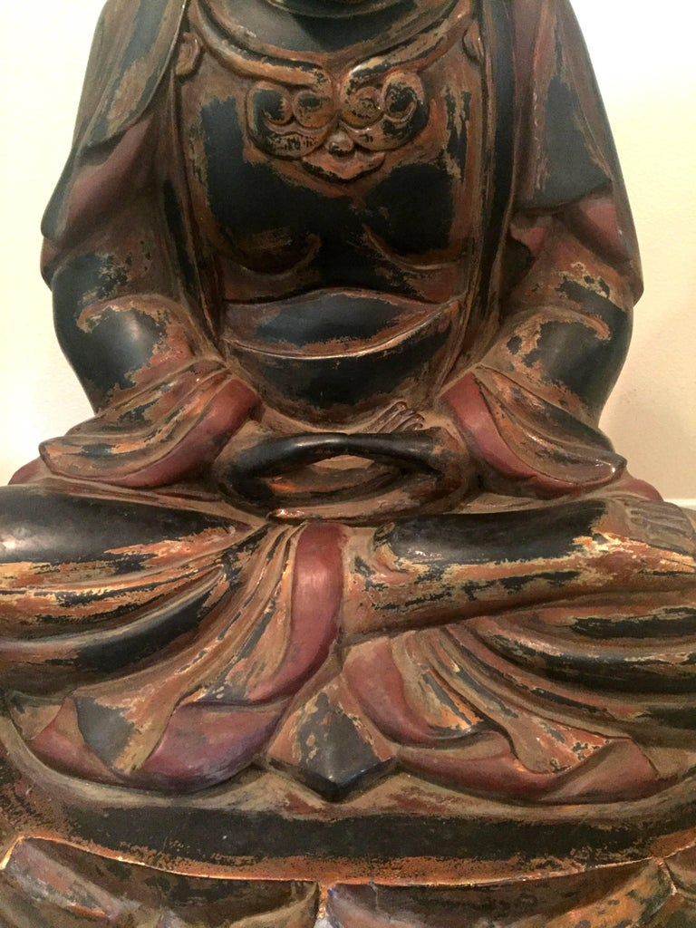 20th Century Huge Solid Wood Buddha Statue, Hand-Carved For Sale