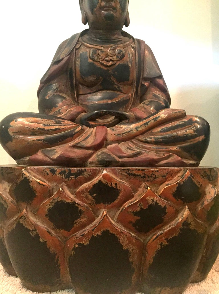 Huge Solid Wood Buddha Statue, Hand-Carved For Sale 1