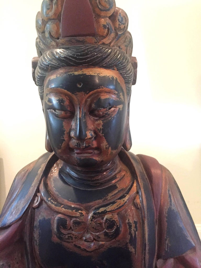 Huge Solid Wood Buddha Statue, Hand-Carved For Sale 4
