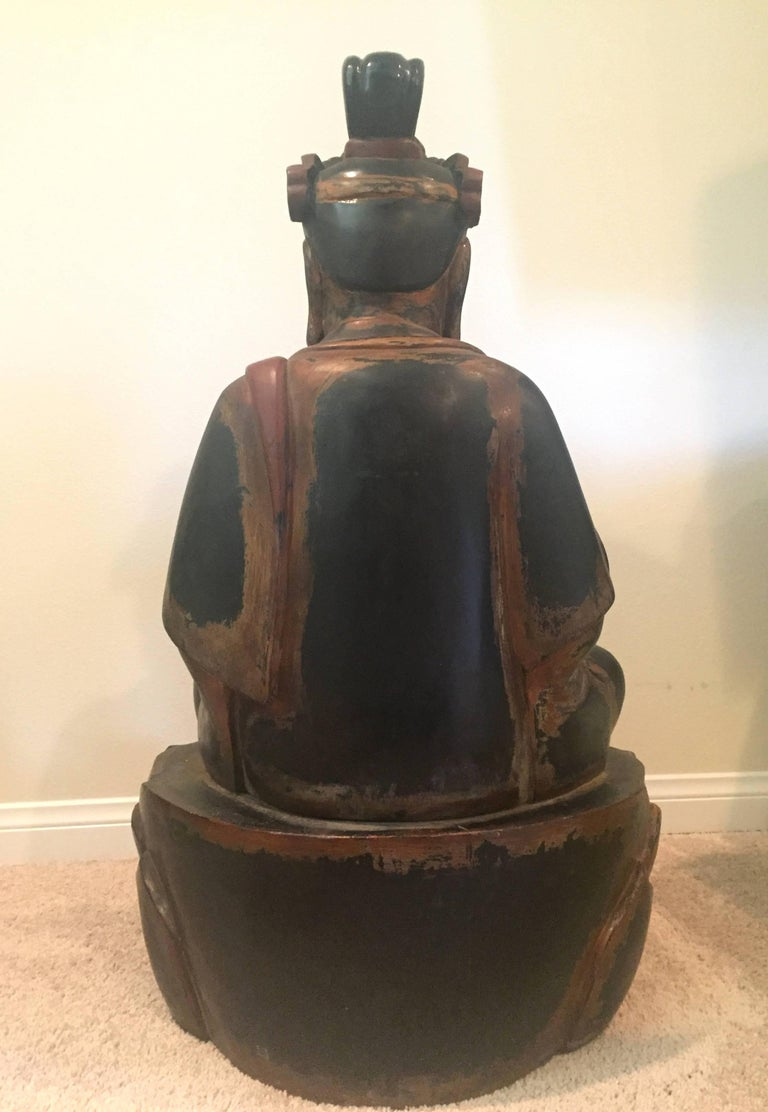 Huge Solid Wood Buddha Statue, Hand-Carved For Sale 5