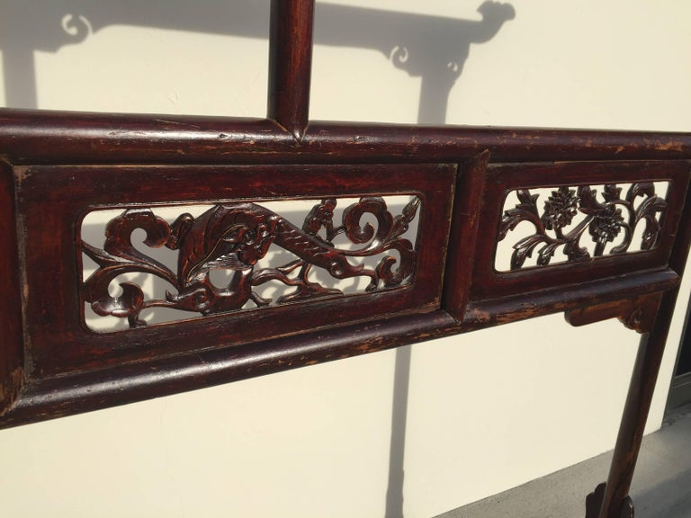 Antique Garment Rack, Clothes and Towel Rack, Finely Carved In Good Condition For Sale In Somis, CA