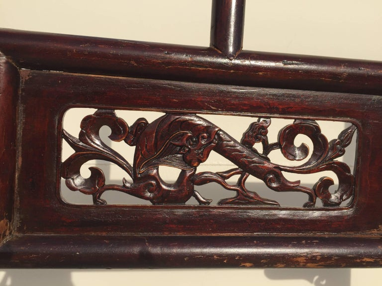 19th Century Antique Garment Rack, Clothes and Towel Rack, Finely Carved For Sale
