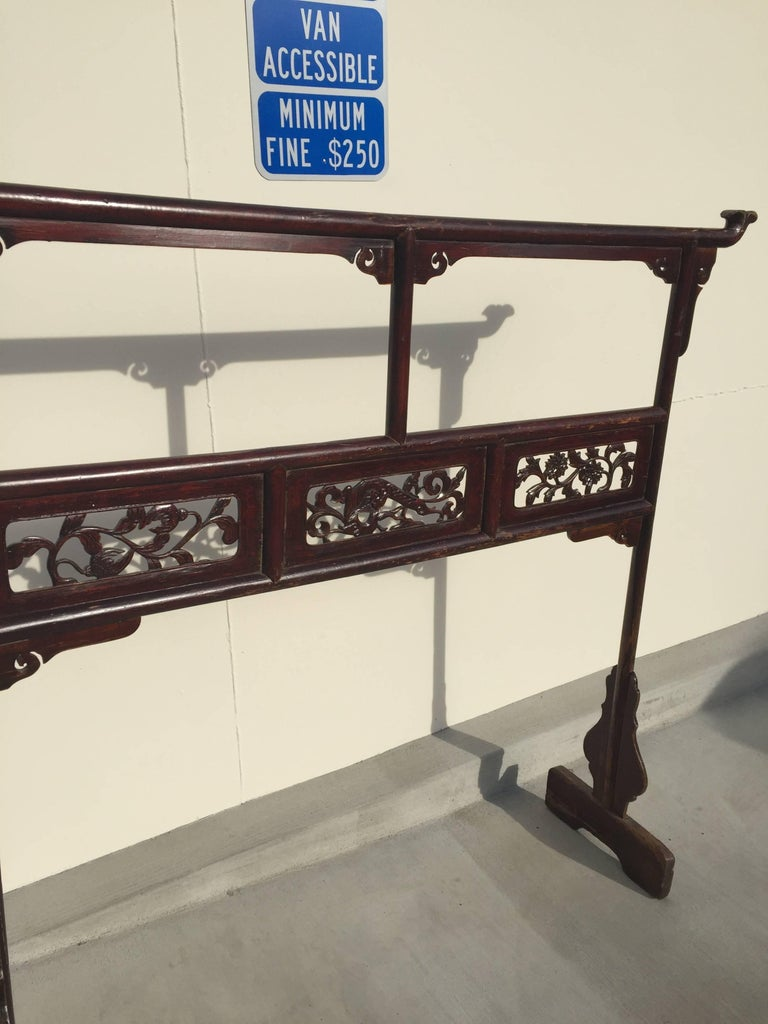 Wood Antique Garment Rack, Clothes and Towel Rack, Finely Carved For Sale