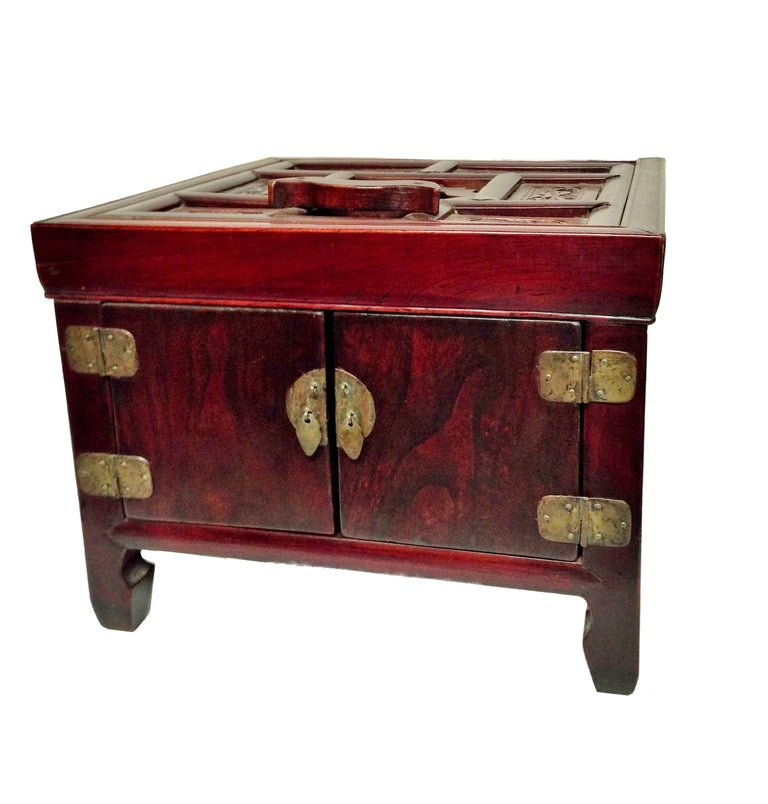 Antique asian jewelry box makeup box solid elm wood for Solid wood jewelry chest