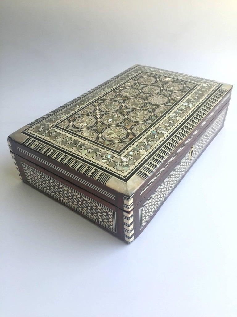 Mother of pearl jewelry box inlaid box with key for sale for Jewelry box with key