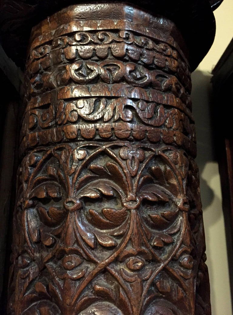 British Colonial Carved Teak Column with Granite Base, British Indian In Good Condition For Sale In Somis, CA