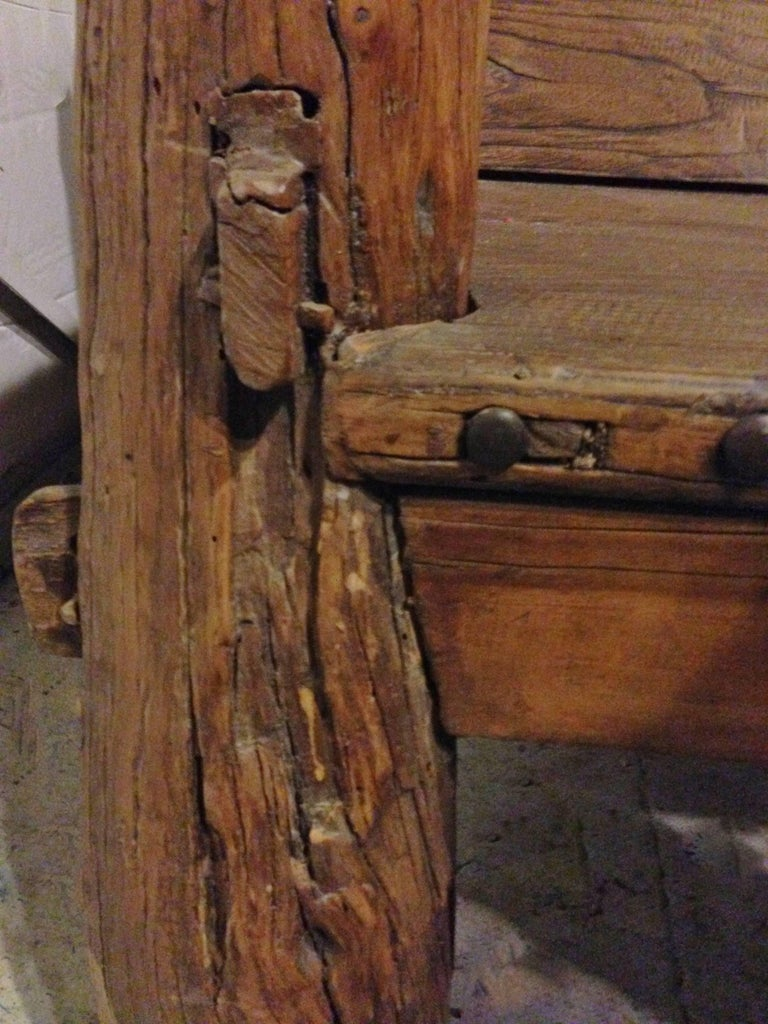 Rustic Log Bench With Iron Studs Antique Solid Wood