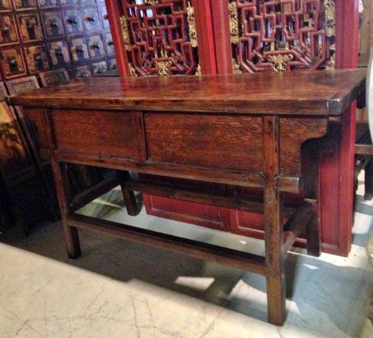 Sliding Door Farmhouse Table: Antique Farm Table With Sliding Doors, Single Board Top