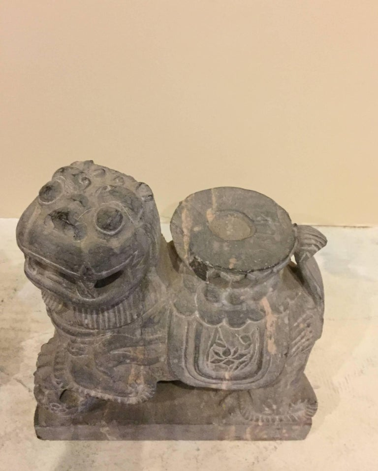 Chinese Pair of Stone Foo Dogs, Stone Candle Holders, Garden Statues For Sale