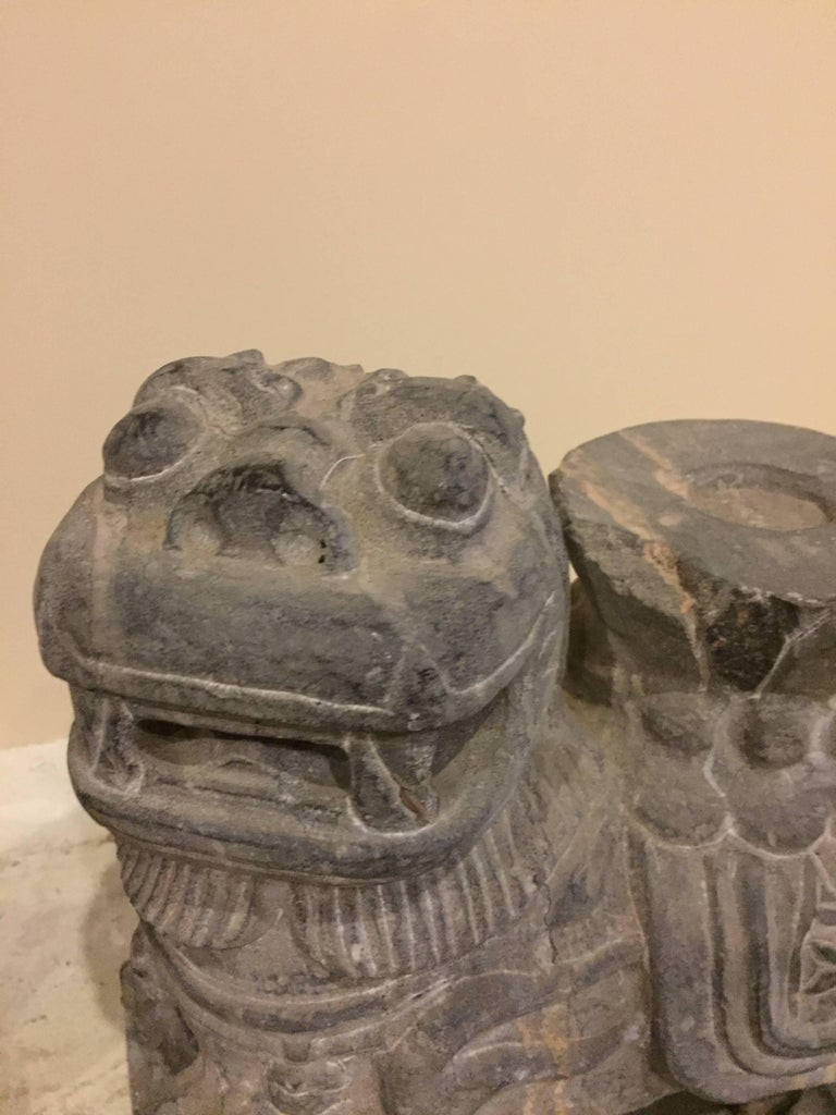 Pair of Stone Foo Dogs, Stone Candle Holders, Garden Statues In Good Condition For Sale In Somis, CA