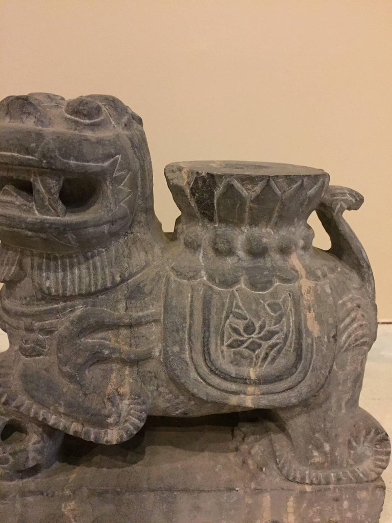 Pair of Stone Foo Dogs, Stone Candle Holders, Garden Statues For Sale 2