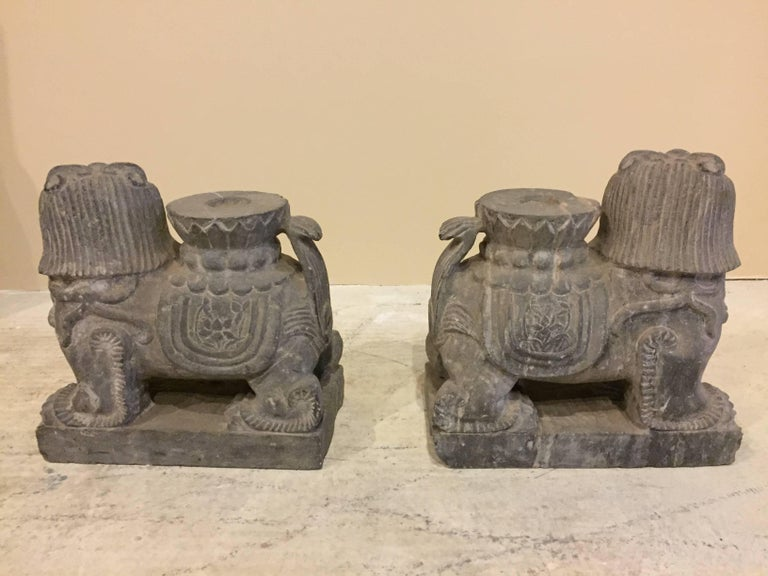 Pair of Stone Foo Dogs, Stone Candle Holders, Garden Statues For Sale 3