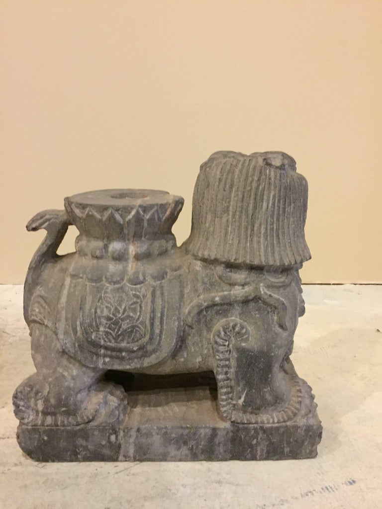 Pair of Stone Foo Dogs, Stone Candle Holders, Garden Statues For Sale 5