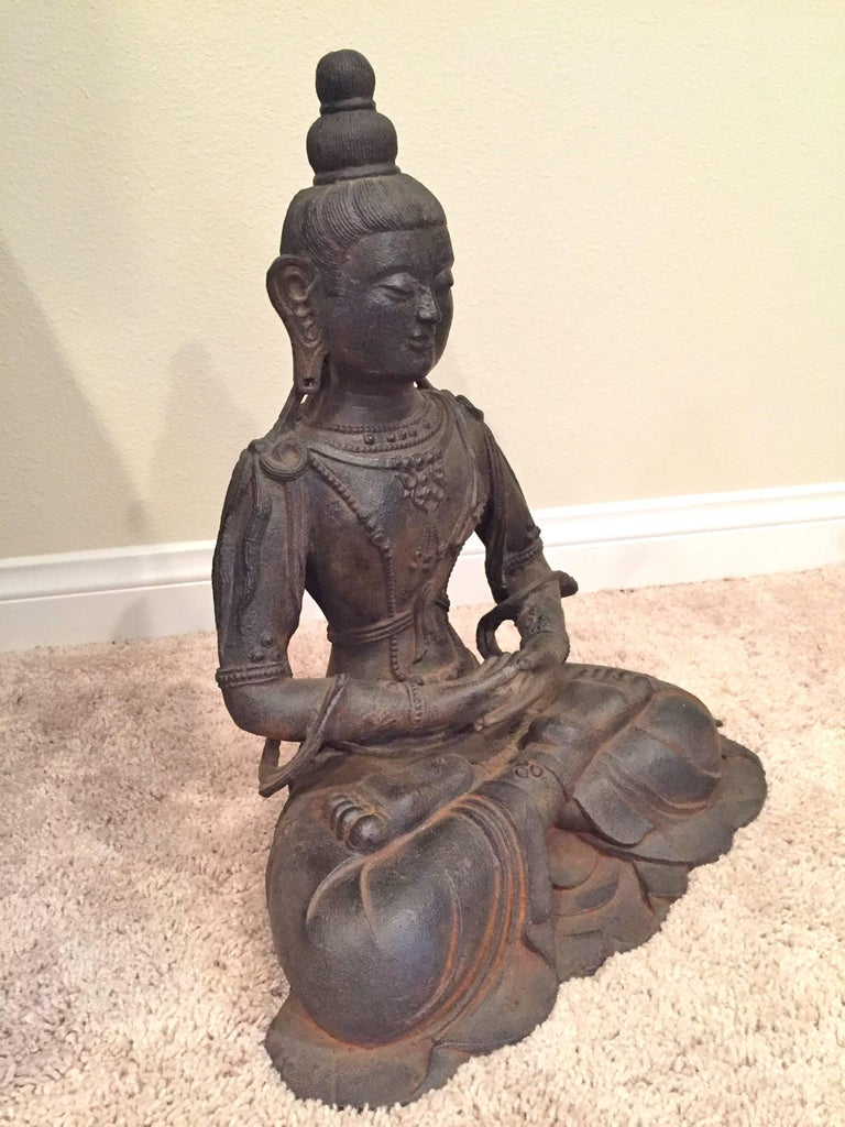 Large Iron Buddha Statue In Excellent Condition For Sale In Somis, CA