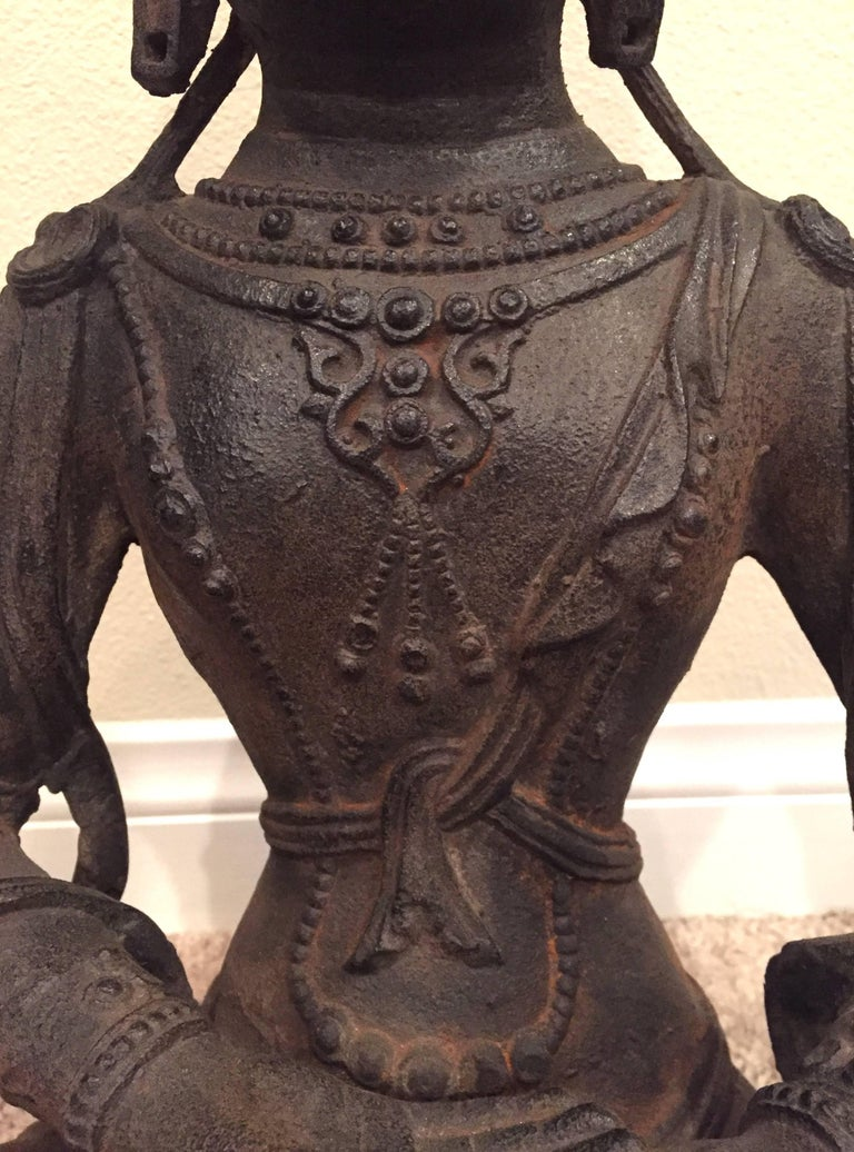 Large Iron Buddha Statue For Sale 2