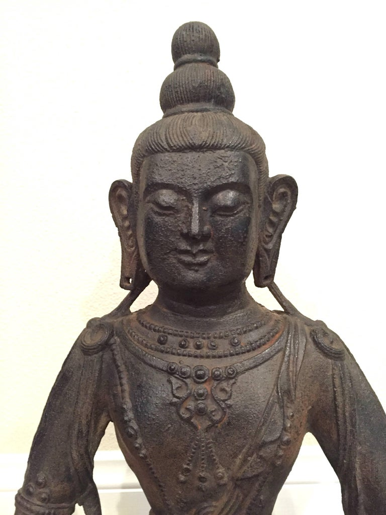 20th Century Large Iron Buddha Statue For Sale