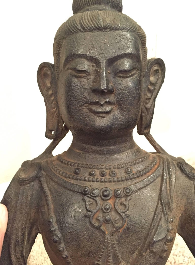 Large Iron Buddha Statue For Sale 1