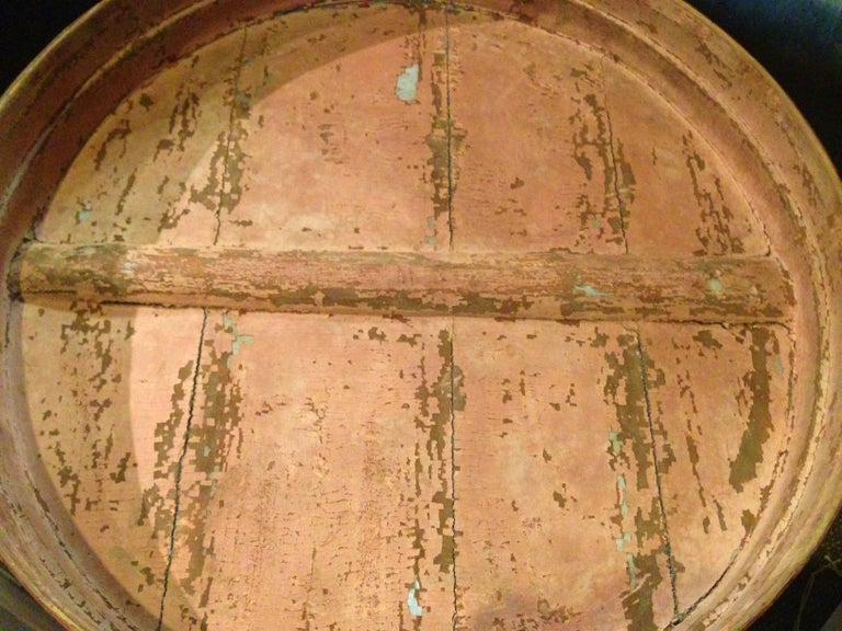 19th Century Chinese Antique Bamboo Basket with Painted Lid For Sale