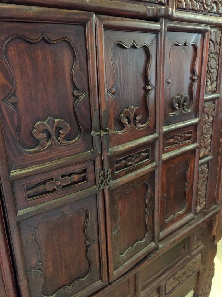 Massive Chinese Antique Carved Armoire Rustic Northern