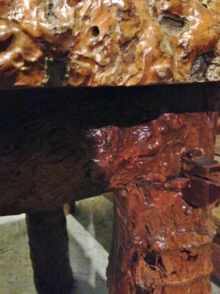 Rustic Burl Wood Bedroom Furniture: Rustic Log Country Table With Stools, Burl Jujube Solid