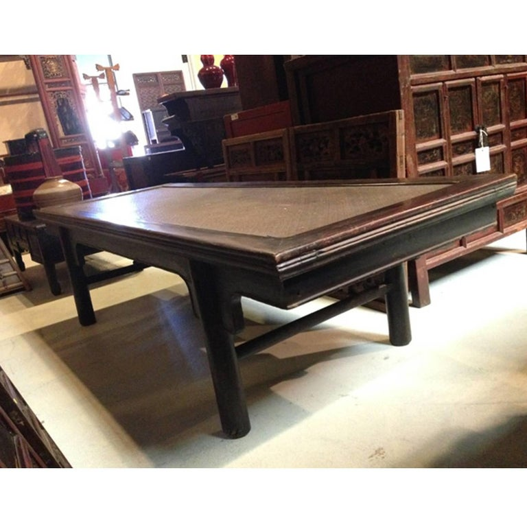 Ming style wide bench large coffee table with rattan top for 10 wide end table