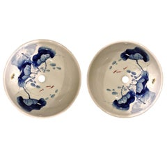 Pair of Blue and White Ceramic Sinks, Hand-Painted