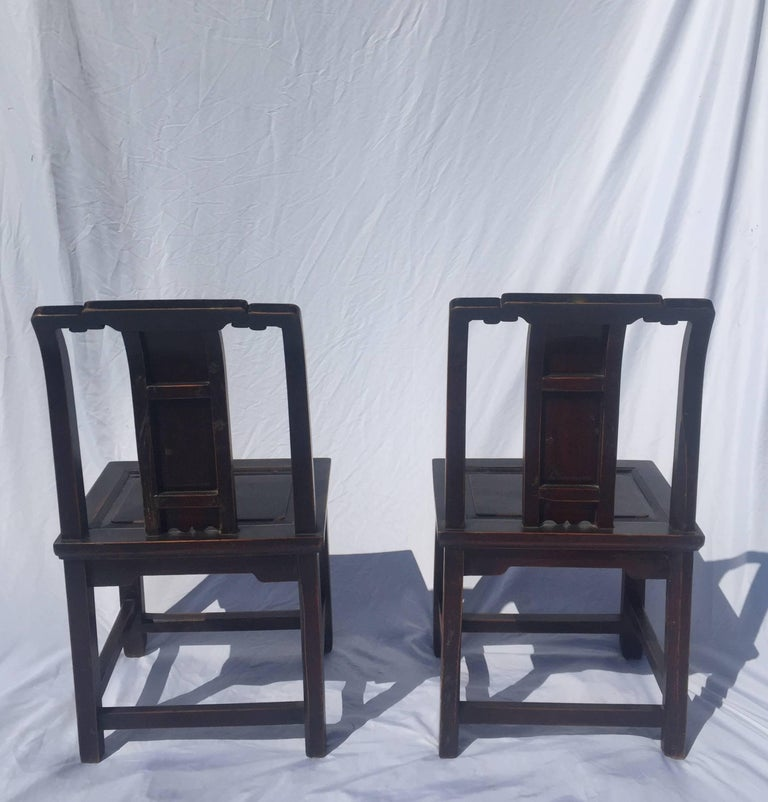 Pair of Chinese Antique Chairs with Longevity Motif In Good Condition For  Sale In Somis, - Pair Of Chinese Antique Chairs With Longevity Motif For Sale At 1stdibs