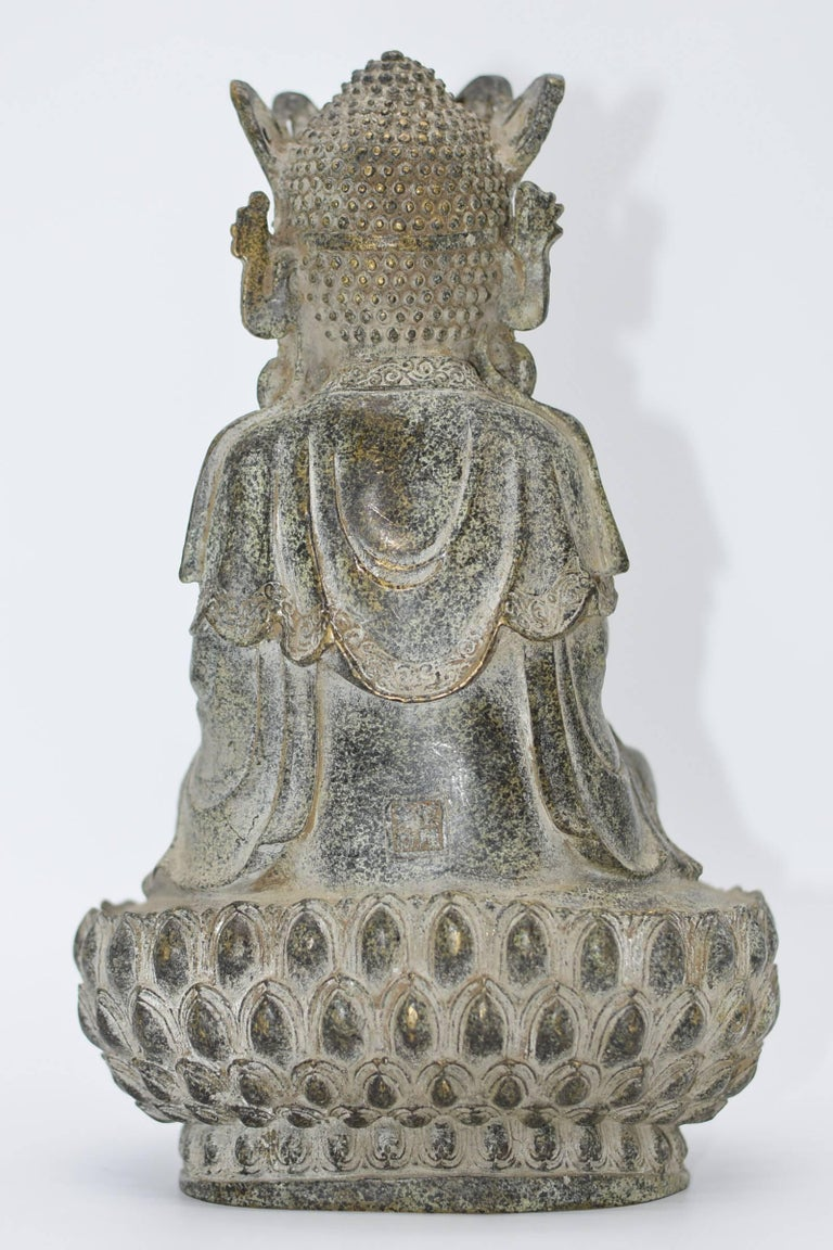 Bronze Earth Buddha on Lotus Seat For Sale 2