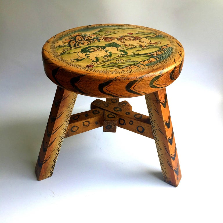 Pair of Tibetan Stools, Hand-Painted In Excellent Condition For Sale In Somis, CA