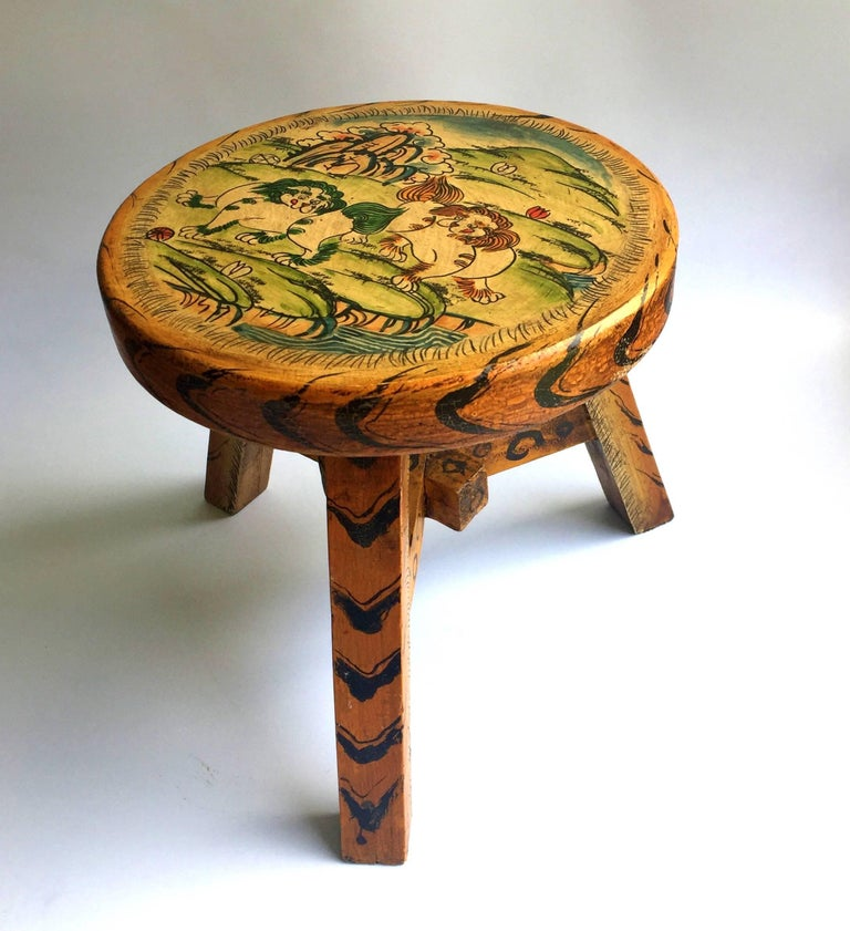 Wood Pair of Tibetan Stools, Hand-Painted For Sale