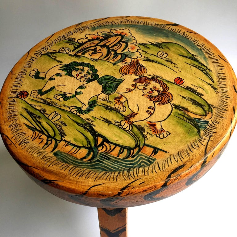 Contemporary Pair of Tibetan Stools, Hand-Painted For Sale