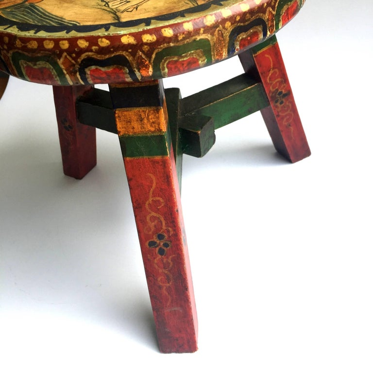 Pair of Tibetan Stools, Hand-Painted For Sale 3