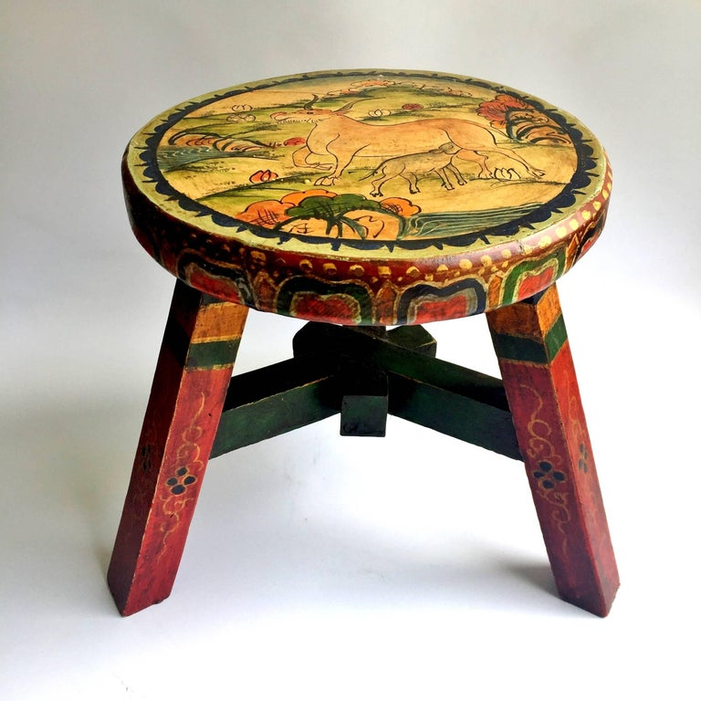 Pair of Tibetan Stools, Hand-Painted For Sale 1