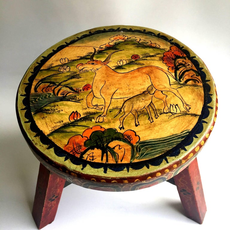 Pair of Tibetan Stools, Hand-Painted For Sale 2